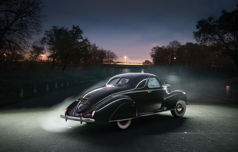 Photo wallpaper Lincoln, Black, Retro, Car, Coupe, Vintage, Back, 1939, Zephyr