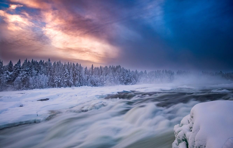 Photo wallpaper winter, forest, the sky, snow, river, Sweden, Sweden, thresholds, Pite River, Norrbotten County, River Pitealven, ...