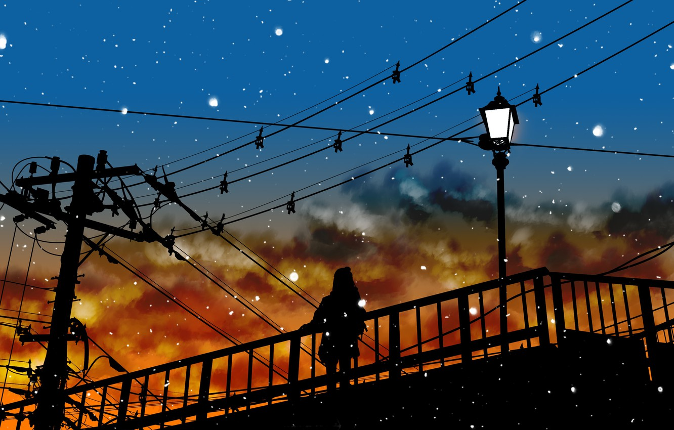 Photo wallpaper the sky, girl, snow, silhouette, lights, power lines