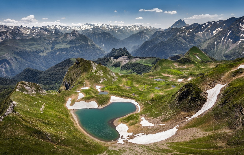 Photo wallpaper landscape, mountains, nature, panorama