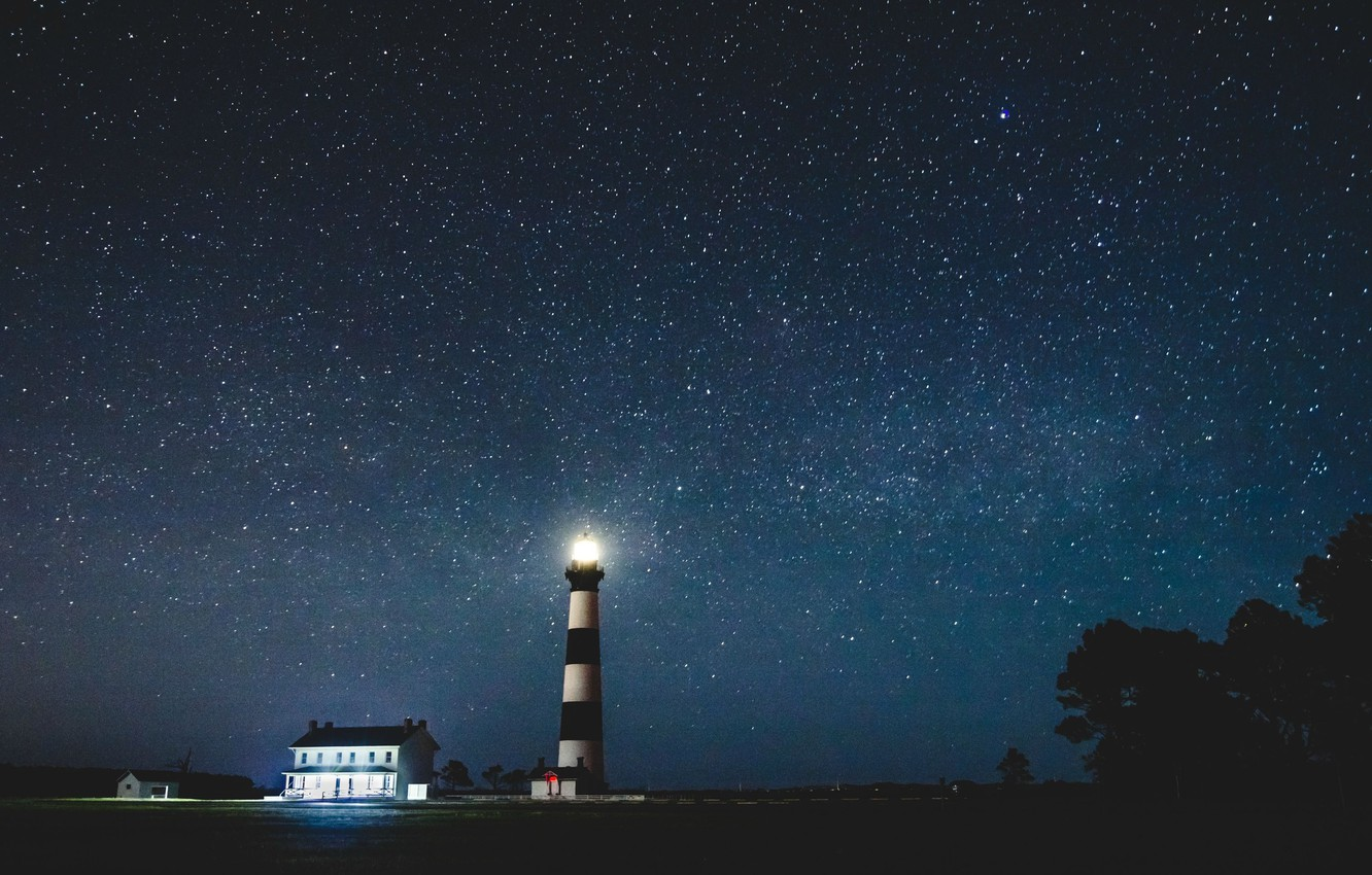 Photo wallpaper stars, night, lighthouse