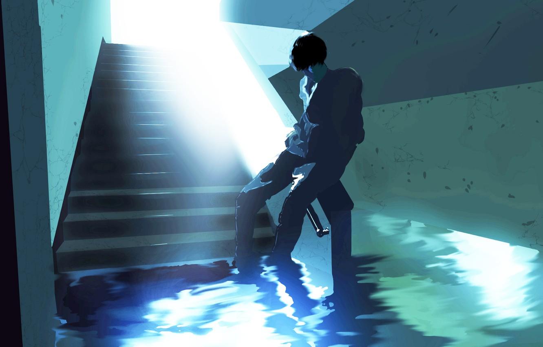 Photo wallpaper water, corridor, guy