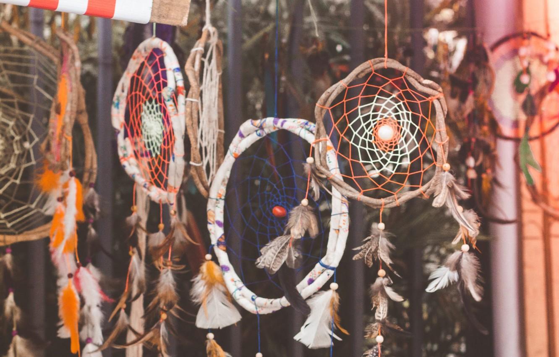 Photo wallpaper feathers, Dreamcatcher, dreamcatcher, amulets
