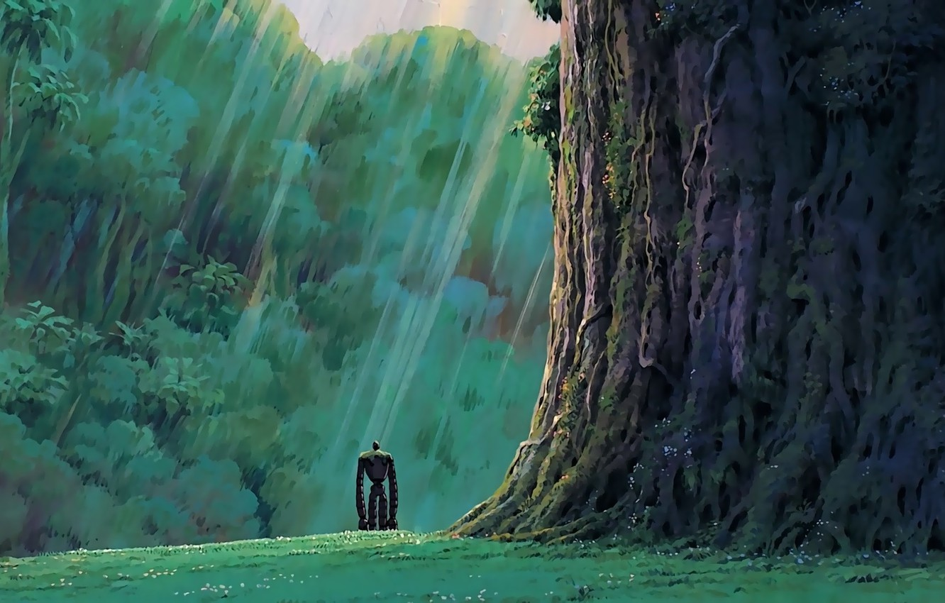 Wallpaper Green Grass Robot Trees Anime Rocks Mood