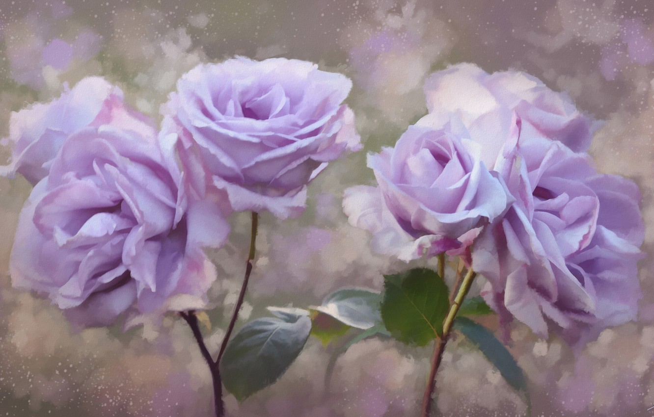 Photo wallpaper flowers, roses, petals, painting