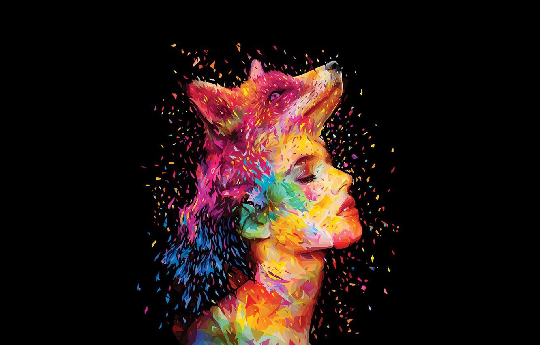 Photo wallpaper girl, face, paint, Fox, profile, Fox