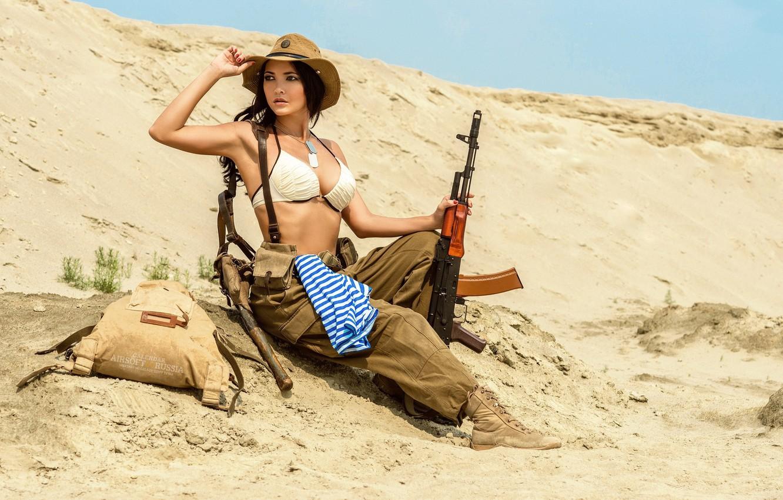 Photo wallpaper Sand, AK-74, Girl