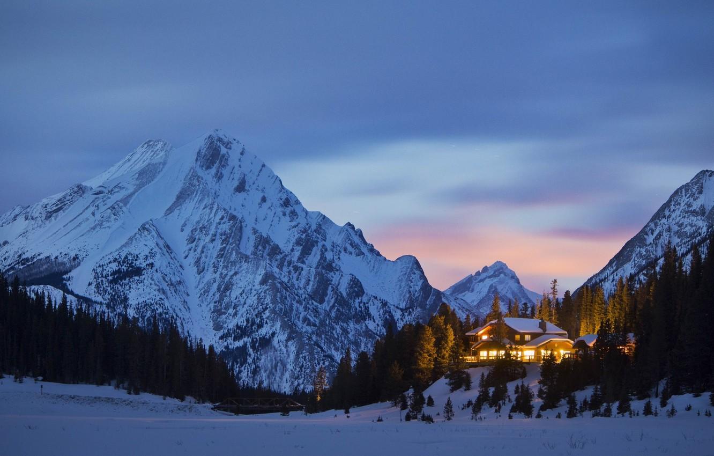 Photo wallpaper lights, house, forest, twilight, sky, trees, landscape, nature, bridge, sunset, winter, snow, evening, Mountains, peaks, …