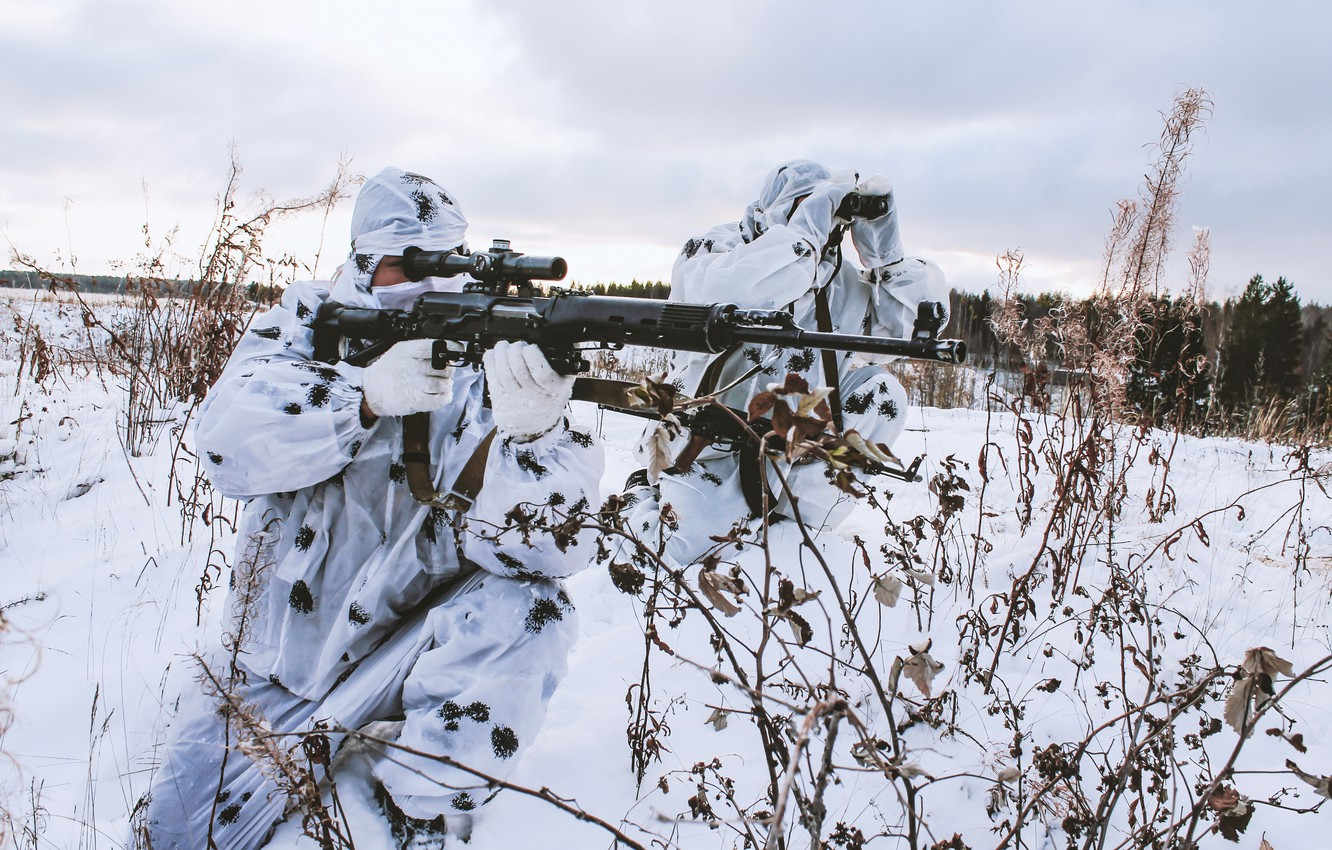 Wallpaper winter, snow, weapons, sniper, camouflage ...