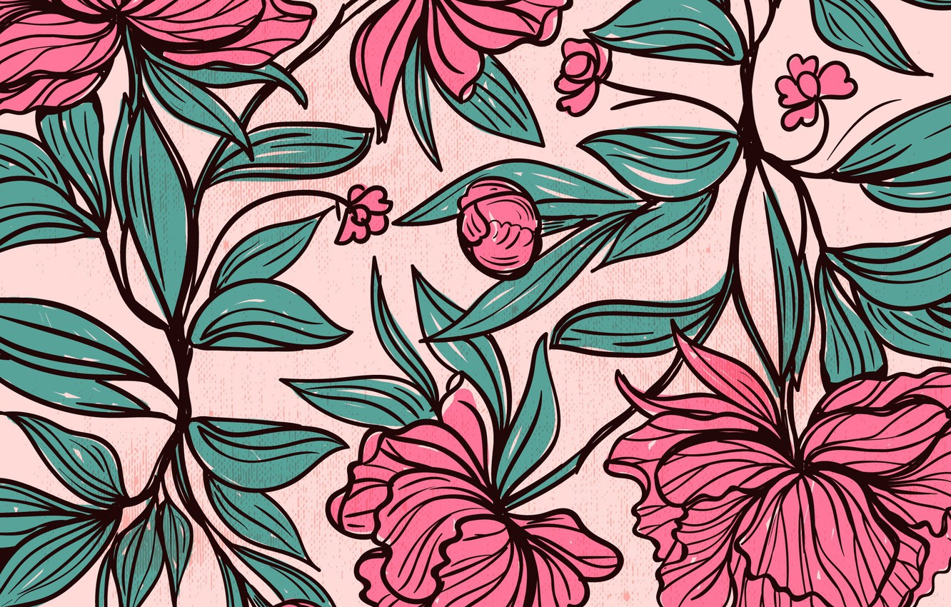 Photo wallpaper flowers, leaves, Background