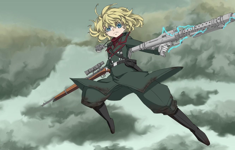 Photo wallpaper girl, soldier, sky, military, war, anime, cloud, blonde, asian, manga, oriental, asiatic, powerful, strong, uniform, …