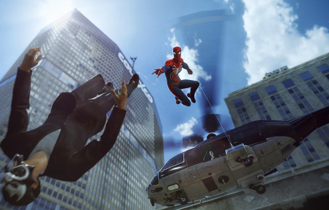 Photo wallpaper The game, Web, Helicopter, Costume, Building, Hero, Mask, Superhero, Hero, Web, Marvel, Villain, Helicopter, Spider-man, …