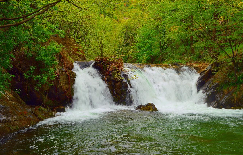 Photo wallpaper Greens, Nature, Spring, Waterfall, Nature, Green, Spring, Waterfall