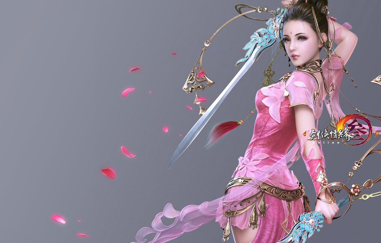Photo wallpaper girl, the game, sword, warrior, art