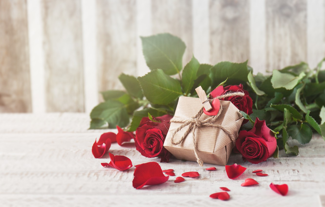 Photo wallpaper roses, petals, red, love, buds, flowers, romantic, gift, roses, red roses, valentine`s day
