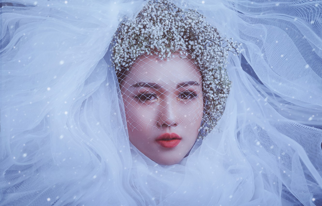 Photo wallpaper look, girl, flowers, face, style, makeup, Asian, the bride, veil, veil, gypsophila