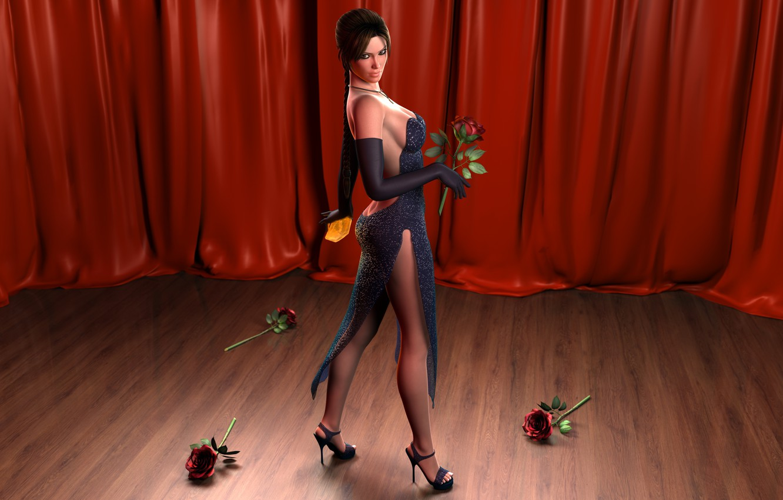 Photo wallpaper girl, roses, curtain