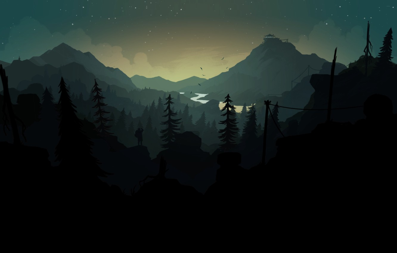 Photo wallpaper Mountains, Night, Stars, The game, River, People, Forest, Silhouette, Hills, Landscape, Art, Tower, Campo Santo, …
