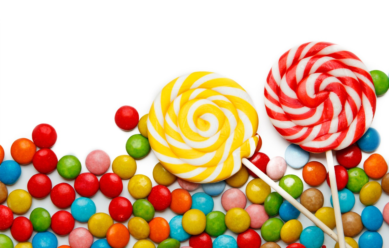 Photo wallpaper colorful, candy, sweets, lollipops, sweet, candy, lollipop
