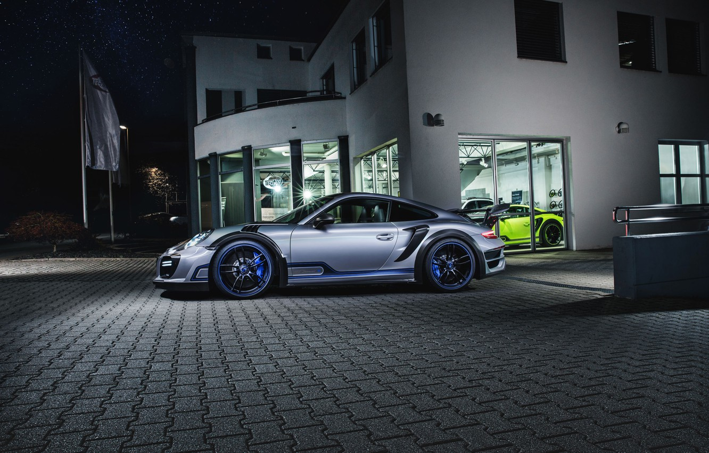 Photo wallpaper night, the building, 911, Porsche, Street, TechArt, Turbo GT