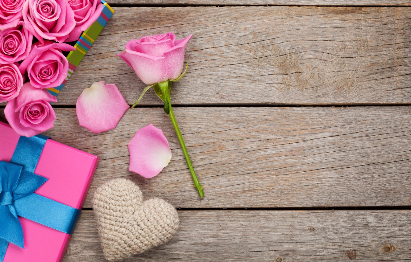 Photo wallpaper roses, love, heart, pink, romantic, sweet, gift, petals, roses, valentine`s day