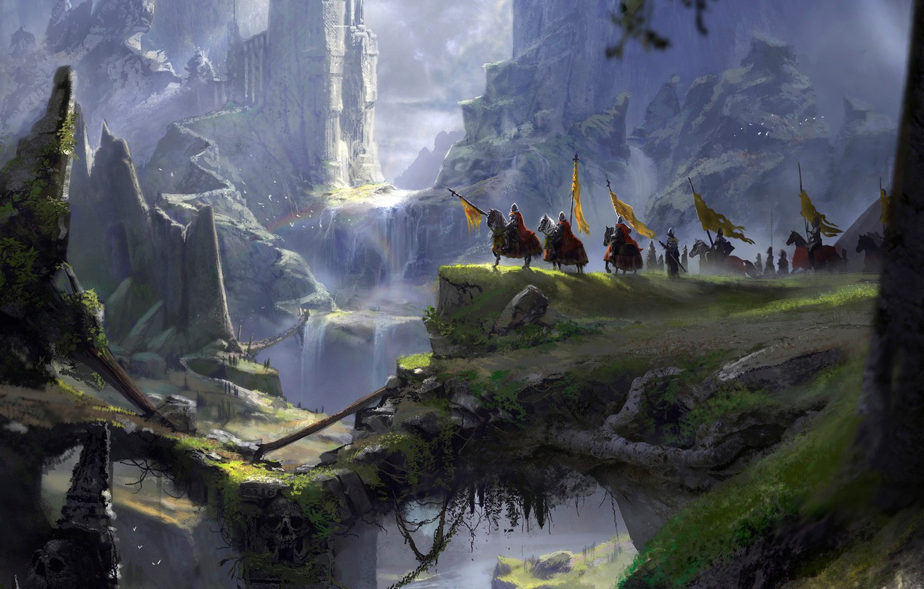 Photo wallpaper mountains, abyss, knights, A long journey, fantasy port castle
