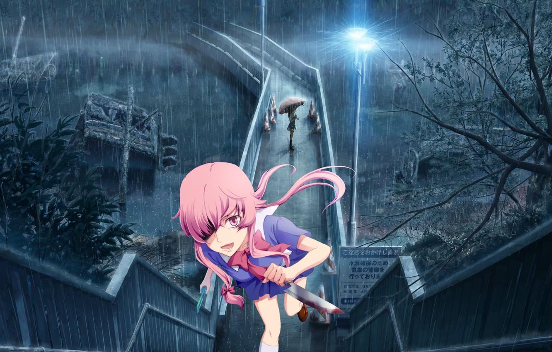 Photo wallpaper night, bridge, blood, chase, dagger, the shower, madness, art, Mirai Nikki, Gasai Yuno, Future Diary, …