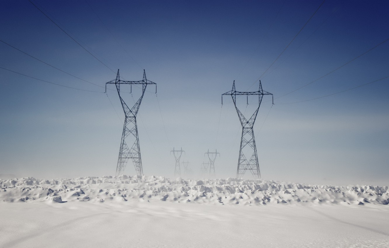Photo wallpaper winter, snow, power lines