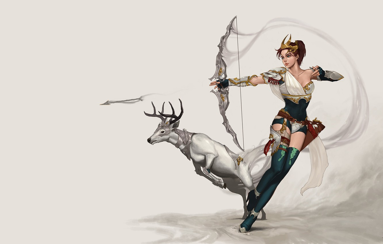Photo wallpaper girl, the game, deer, Archer, art, hunting, hunter, character, Archer, fantasy, Artemis Concept