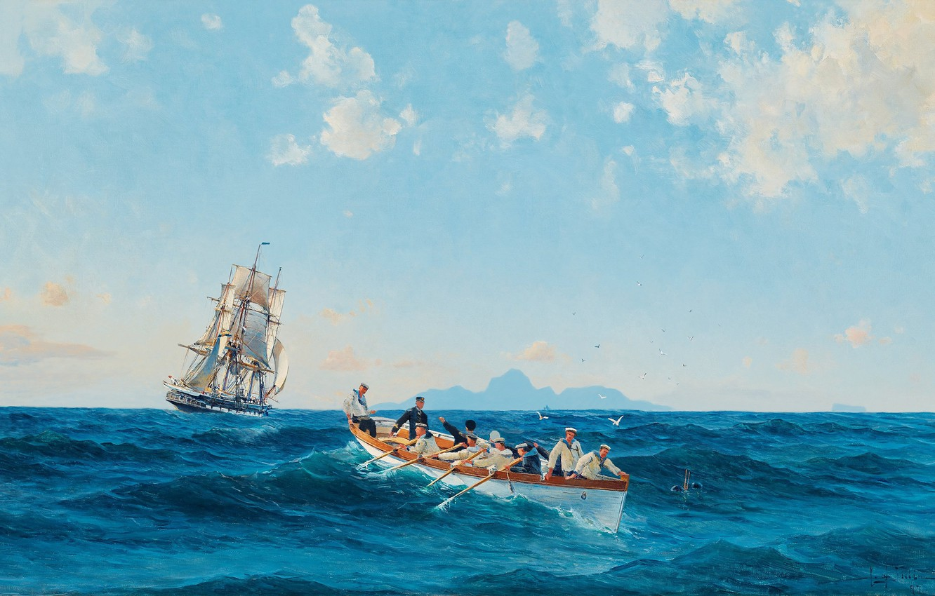 Photo wallpaper the ocean, oil, art, watercolor, artist, pencil, Navy, painting, battleship, gouache, full course, painting painting, ...