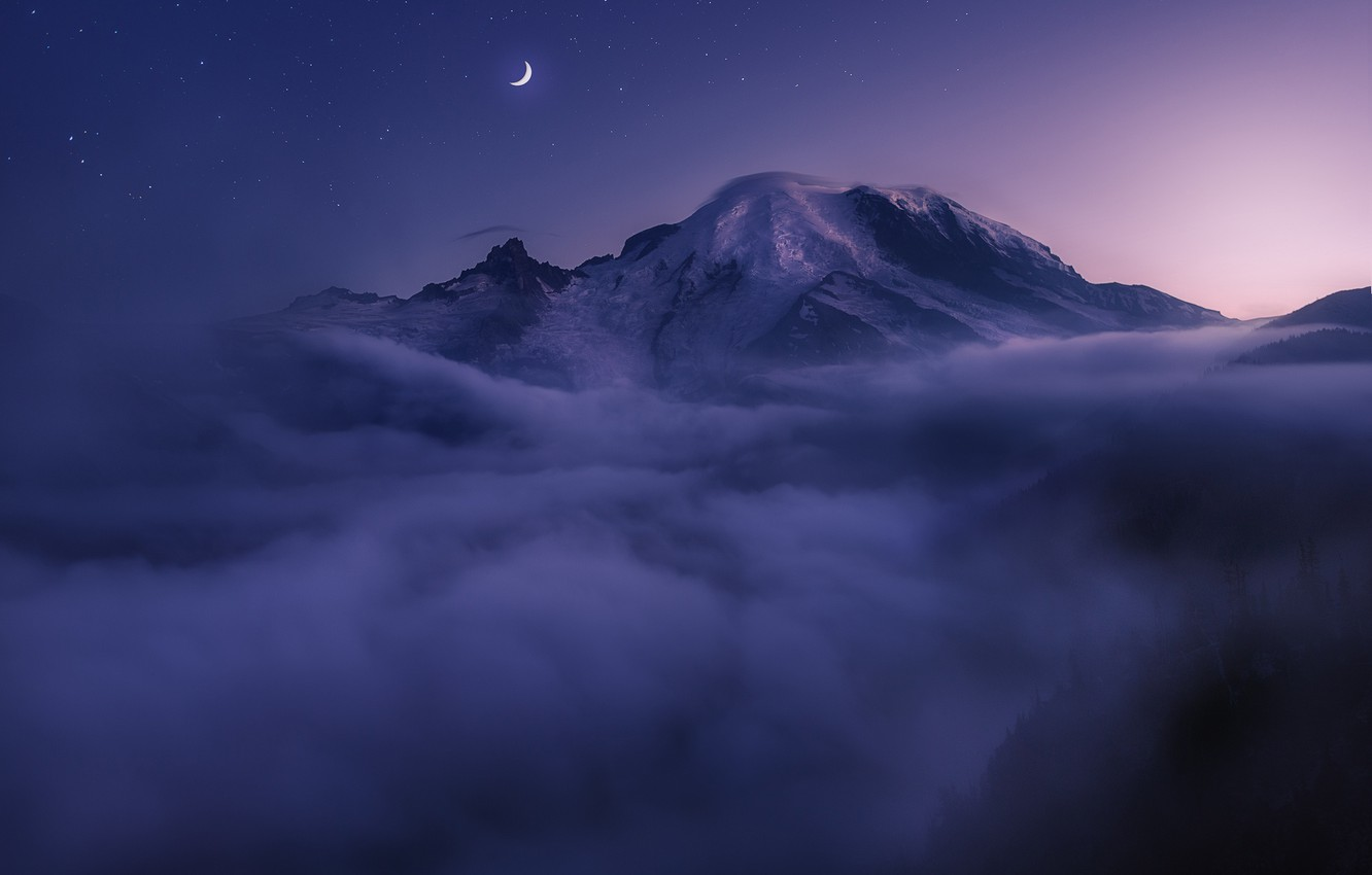 Photo wallpaper clouds, night, fog, the moon, top, USA