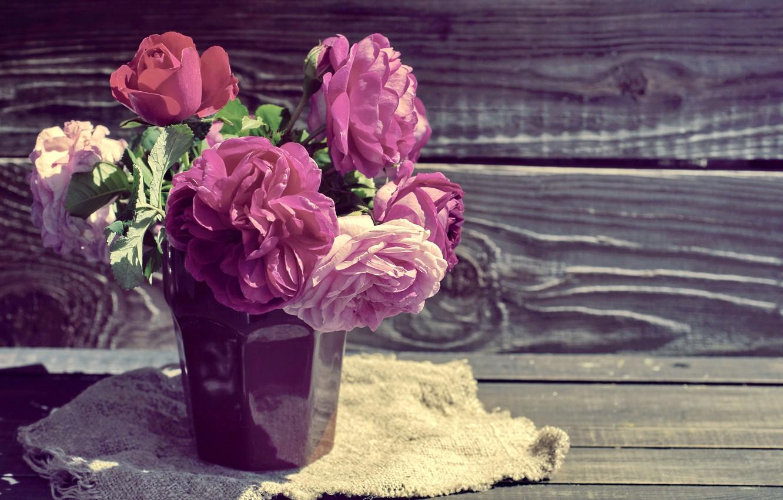 Photo wallpaper roses, pink, wood, pink, flowers, beautiful