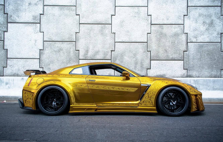 Photo wallpaper nissan, gold, gtr, racing, kuhl