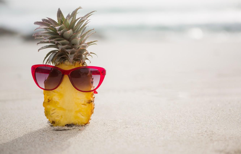 Photo wallpaper sand, sea, beach, summer, stay, glasses, summer, pineapple, beach, vacation, sea, sand, pineapple, vacation, sunglasses