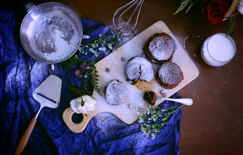 Photo wallpaper flowers, milk, cakes, cupcakes, powdered sugar