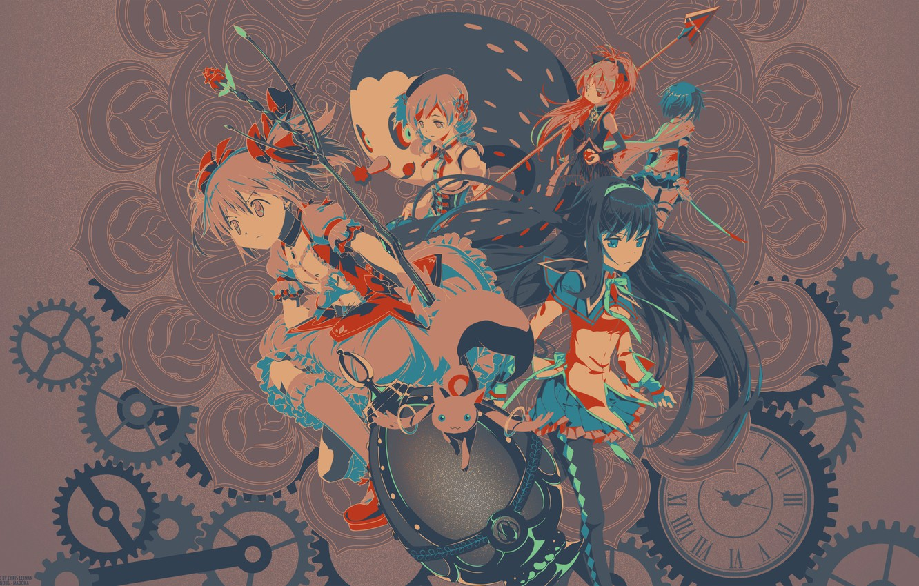 Photo wallpaper flower, blue, red, weapons, grey, girls, black, hair, watch, mechanism, egg, anime, girls, anime, brokenTONE