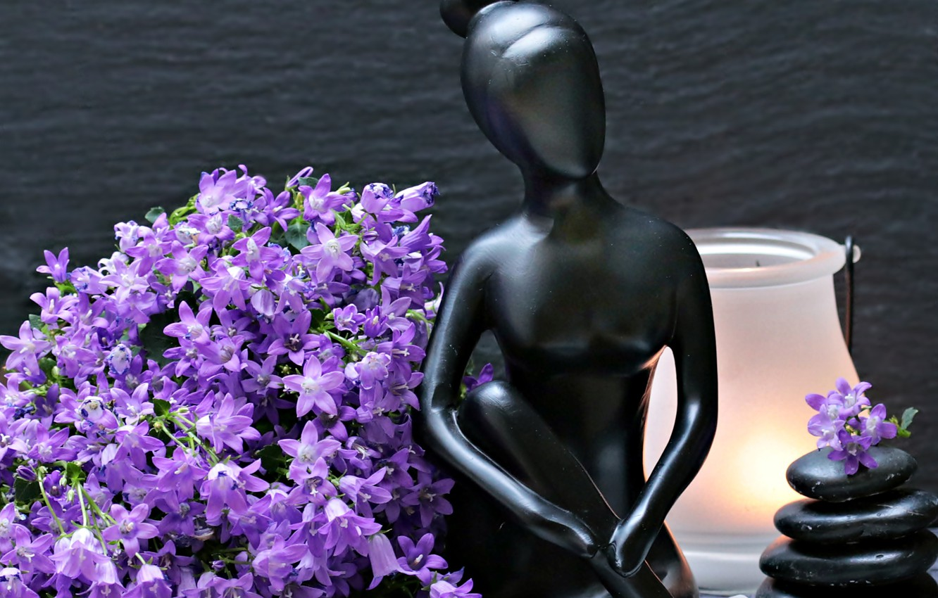 Photo wallpaper flowers, stones, woman, lamp, figurine, bells, figure