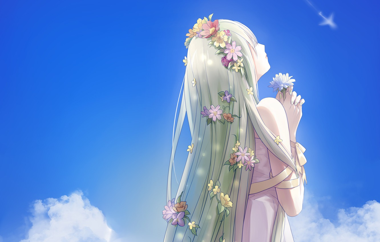 Photo wallpaper the sky, girl, clouds, flowers, anime, art, ice, vocaloid, jinqinglin77, hatsune milki
