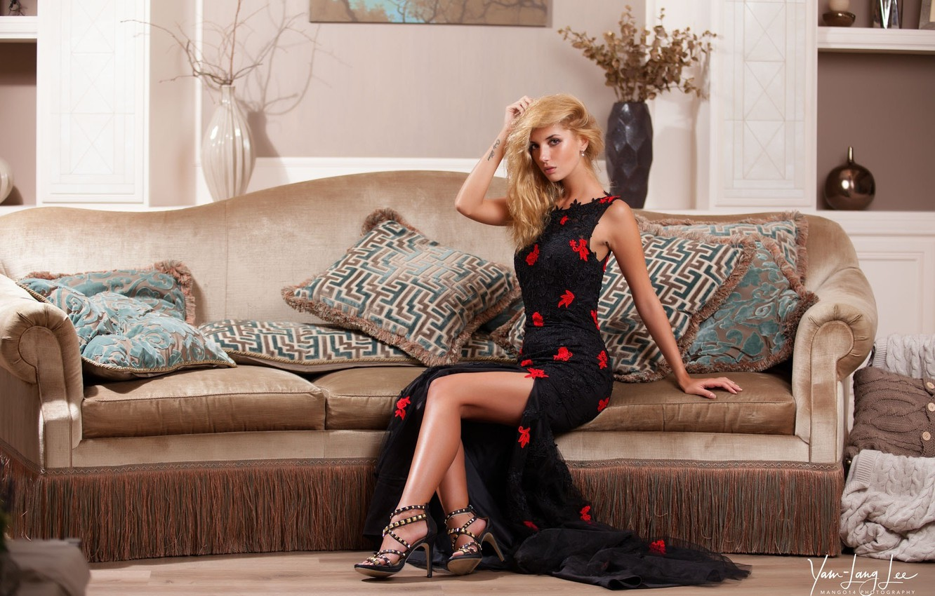 Photo wallpaper girl, room, interior, pillow, makeup, figure, dress, hairstyle, blonde, shoes, legs, beautiful, on the couch, …