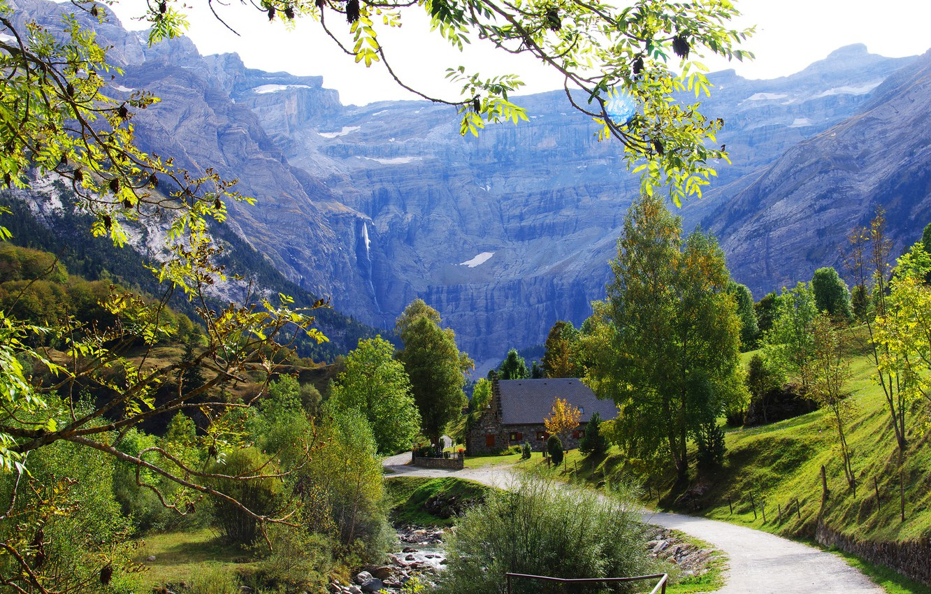Photo wallpaper road, greens, grass, the sun, trees, mountains, branches, stream, stones, rocks, France, slope, house, Gavarnie, …
