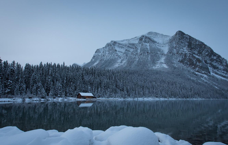 Photo wallpaper winter, forest, snow, mountains, lake, Canada, the snow, Albert, house, Banff National Park, Alberta, Lake …