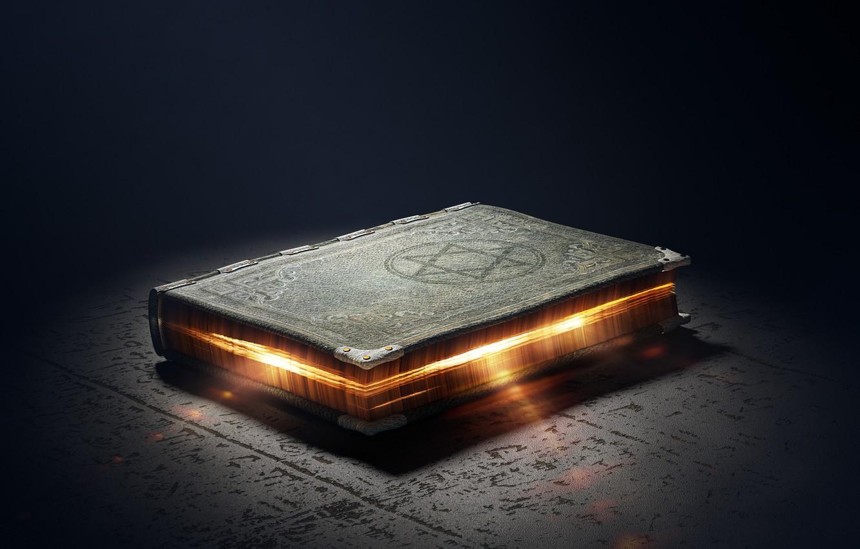Photo wallpaper magic, glow, symbol, book