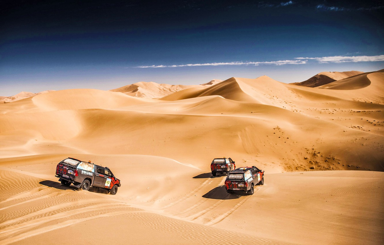 Photo wallpaper The sky, Sand, Nature, Speed, three, Beauty, Toyota, Rally, Rally, The roads, Dune, Silk road, …