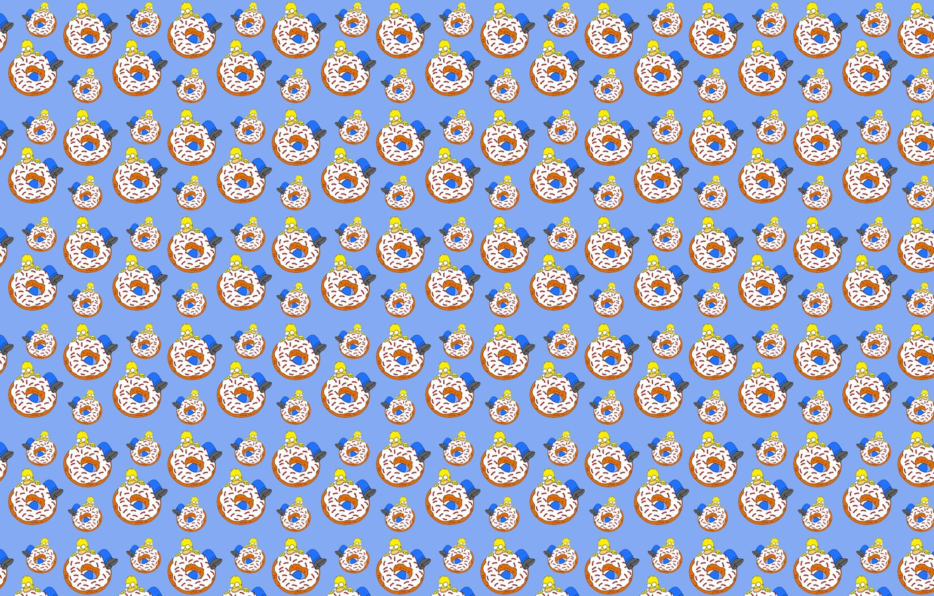 Photo wallpaper white, blue, yellow, food, The simpsons, large, Homer, donut, brown, bites, eating, Homer Simpson