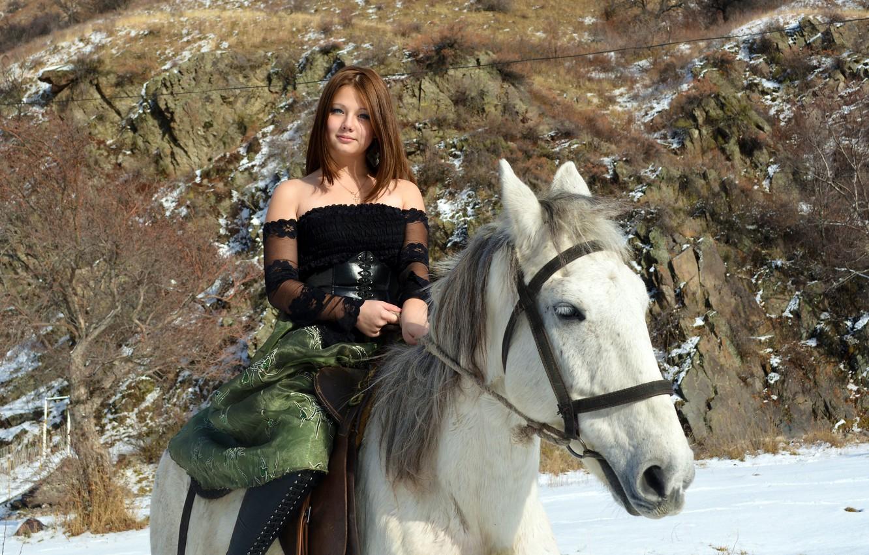 Wallpaper Model Smile Snow Horse Kleofia Riding Images For Desktop Section Devushki Download