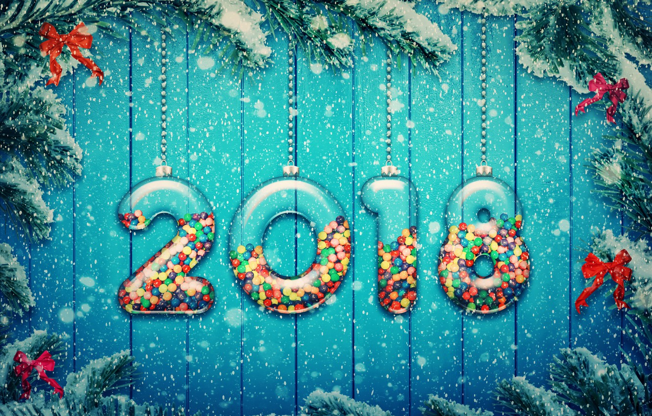 Photo wallpaper snow, decoration, tree, New Year, snow, 2018, New Year, candy, decoration, Happy