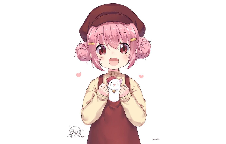 Photo wallpaper girl, animal, pink hair, Comic Girls