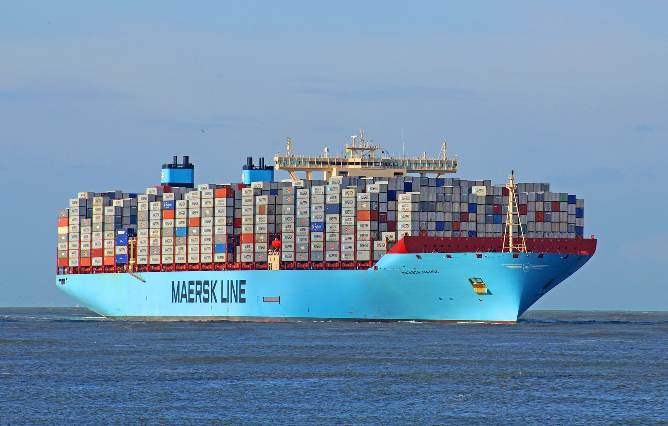Photo wallpaper Reflection, Board, The ship, Line, Cargo, A container ship, Madison, Container, Maersk, Maersk Line, Maersk, …