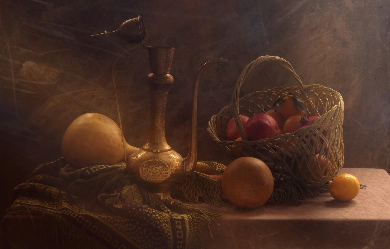 Photo wallpaper lemon, basket, pumpkin, still life, grenades, tangerines