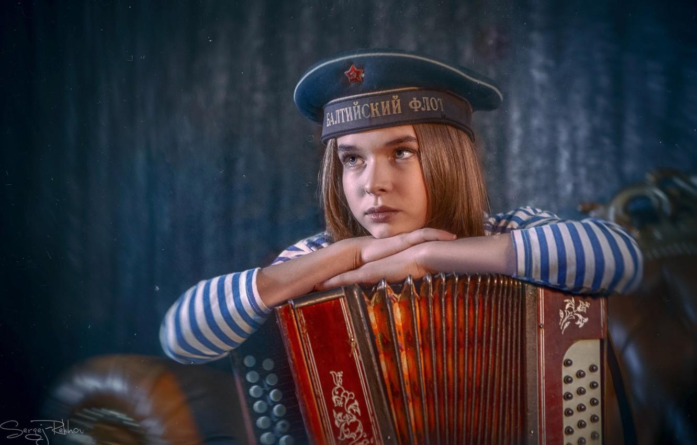 Photo wallpaper sadness, mood, girl, Sailor, vest, Bayan, the cap, Sergey Rehob